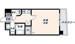 アドバンス大阪フェリシア 9階1Kの間取り