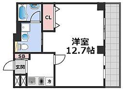 セゾンラトゥール桃谷 2階1Kの間取り