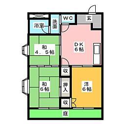 ハイツラ・セーヌ[1階]の間取り