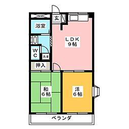 岐阜県岐阜市琴塚2の賃貸アパートの間取り