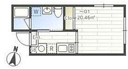 JASPER Komazawa 3階ワンルームの間取り