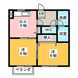 コーポMEIWA B[1階]の間取り