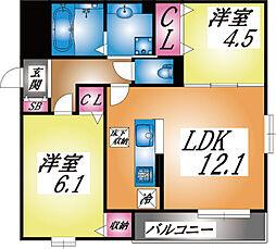 兵庫県神戸市灘区灘北通8丁目の賃貸アパートの間取り