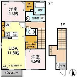 仮)D-room湊高台B[201号室]の間取り