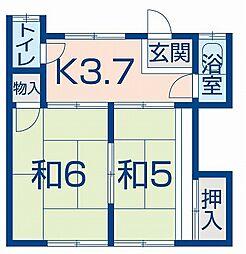 雲見文化アパート[2階西号室]の間取り