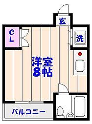 千葉県市川市末広2の賃貸マンションの間取り