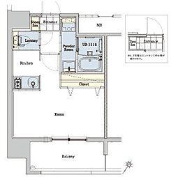 エンクレストベイ天神東III 13階1Kの間取り