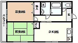 兵庫県芦屋市浜町の賃貸アパートの間取り