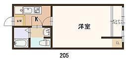 大和マンション 2階1Kの間取り