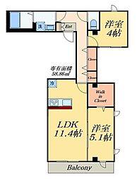 仮称亀戸7丁目計画 4階2LDKの間取り