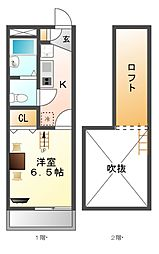 レオパレスMEIKOU[2階]の間取り