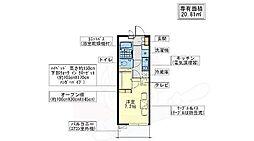 大阪モノレール彩都線 豊川駅 徒歩5分の賃貸マンション 3階1Kの間取り