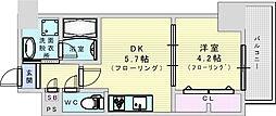 サンセール吹田 7階1DKの間取り