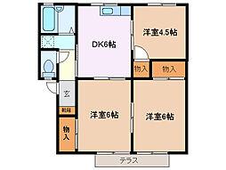 プレジール伊倉[1階]の間取り