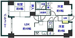 ライオンズマンション熊谷美土里[504号室]の間取り