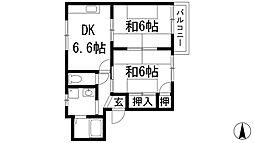 兵庫県伊丹市鴻池5丁目の賃貸アパートの間取り