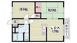 神戸市西神・山手線 西神中央駅 バス13分 神戸西高校前下車 徒歩7分の賃貸アパート 1階2LDKの間取り