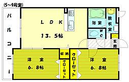 福岡県古賀市今の庄3丁目の賃貸マンションの間取り