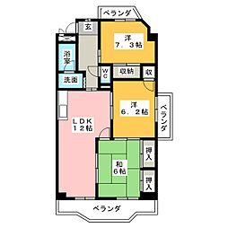 グランデール鶴田[3階]の間取り