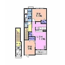 ルルーディアB[2階]の間取り