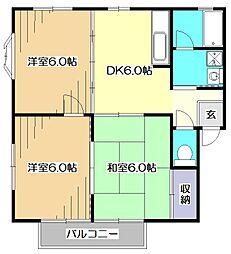 東京都東大和市中央2丁目の賃貸アパートの間取り