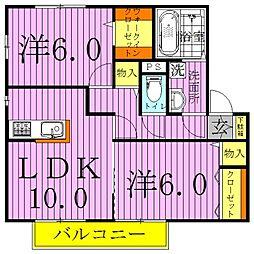 ソレアードD棟[1階]の間取り