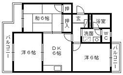 静岡県浜松市浜北区本沢合の賃貸マンションの間取り