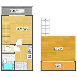 サザン住之江[6階]の間取り
