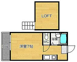 福岡県福岡市城南区片江3丁目の賃貸アパートの間取り