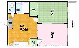 大阪府枚方市宮之阪3丁目の賃貸マンションの間取り