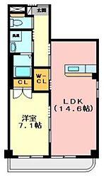 大阪府交野市私部3丁目の賃貸マンションの間取り