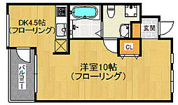 福岡県福岡市早良区西新2の賃貸マンションの間取り