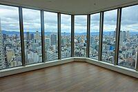 居間(上層階の角部屋ならではの眺望をお楽しみいただけます)