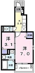 JR青梅線 羽村駅 徒歩25分の賃貸アパート 1階1SKの間取り