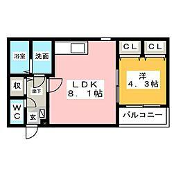 Leciel寺崎[2階]の間取り