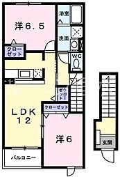 兵庫県加西市北条町東南の賃貸アパートの間取り