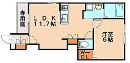 JR博多南線 博多南駅 徒歩8分の賃貸アパート 1階1LDKの間取り