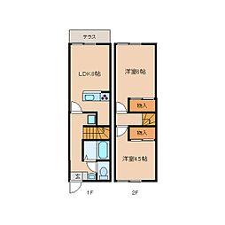 [テラスハウス] 奈良県天理市楢町 の賃貸【奈良県 / 天理市】の間取り