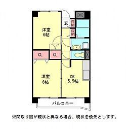 愛知県一宮市大赤見字八幡西の賃貸マンションの間取り