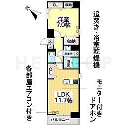名古屋市営桜通線 野並駅 徒歩2分の賃貸マンション 3階1LDKの間取り