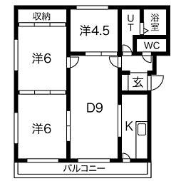 レジデンス泉 4階3DKの間取り