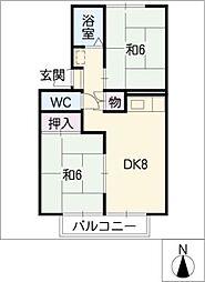 プレジールイイヌマ[2階]の間取り