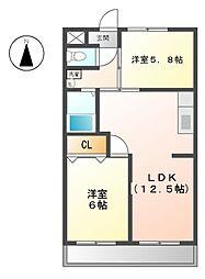 愛知県清須市清洲4丁目の賃貸マンションの間取り