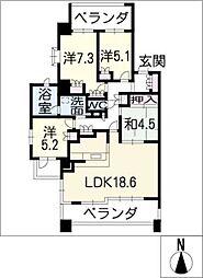 プラウド日進1001号室[10階]の間取り