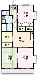ピース嶋村[3階]の間取り