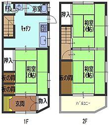 [テラスハウス] 大阪府守口市藤田町6丁目 の賃貸【/】の間取り