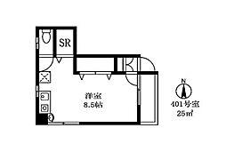センチュリースペースパートII bt[401kk号室]の間取り