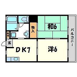 兵庫県西宮市松原町の賃貸アパートの間取り