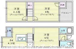 [テラスハウス] 大阪府枚方市長尾元町4丁目 の賃貸【/】の間取り