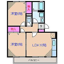 神奈川県横浜市緑区森の台の賃貸アパートの間取り